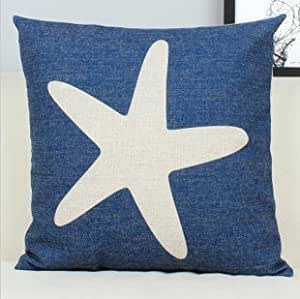 CCTUSGSH Simple Ocean Style Starfish Cotton Throw Pillow Case Cushion Cover 18 X 18 Inches One Side