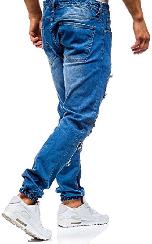 AOWOFS Męskie dżinsy Destroyed Regular Fit Denim Strech spodnie dżinsowe niebiesko-czarne: Odzież