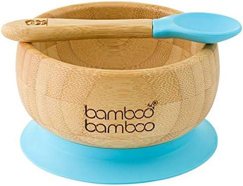 Set de Bowl adherente y cuchara para bebé en combinación, Bowl que no se despega de la mesa al comer, Bambú natural (Azul)