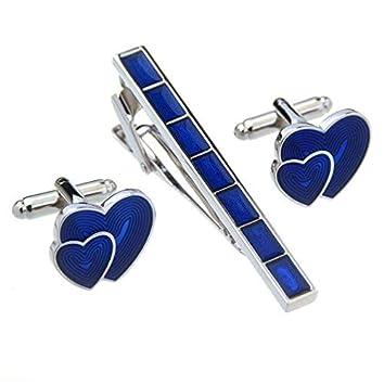 Juego de Gemelos de Placa Azul con Forma de corazón y Clip de ...