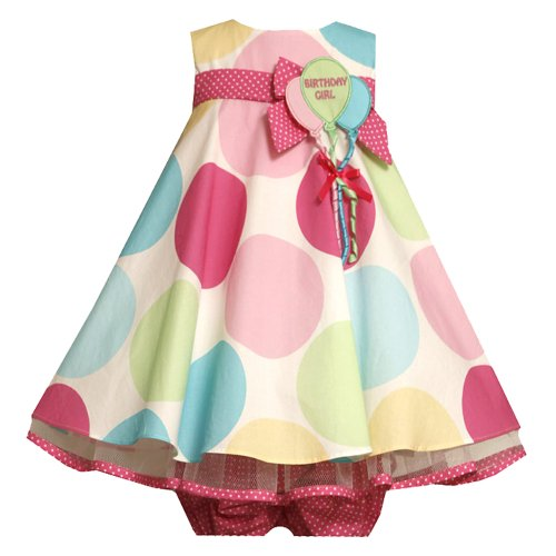 Bonnie Jean Baby/INFANT 12M-24M 2-Piece MULTICOLOR BIG-DOT PRINT 'Birthday Girl' BALLOON BOUQUET Special Occasion Girl Birthday Party Dress