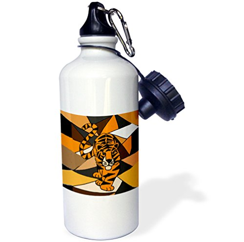 (3dRose Awesome Prowling Tiger Art Abstract-Sports Water Bottle, 21oz (wb_200453_1), Multicolored)