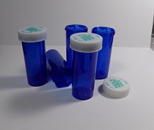 Dram Blue Vial - Plastic RX Vials/Bottles Cobalt Blue 25 Pack w/Caps Larger 13 Dram Size-NEW