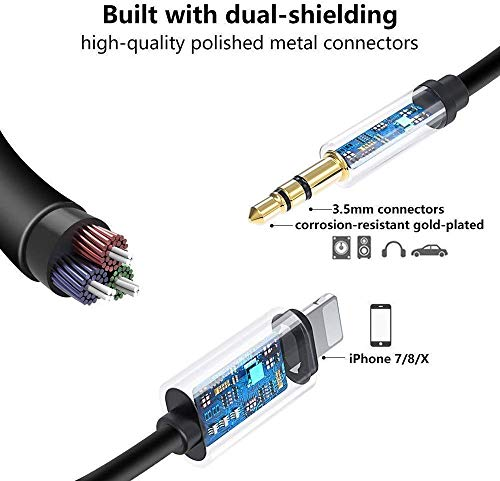 [Apple MFi Certified] iPhone Aux Cord for Car, Lightning to 3.5mm Audio Stereo Cable Compatible for iPhone 12/11 Pro/XS/XR/X 8 7 Adapter Cable to Car Stereo/Home/Headphone/Speaker Support All iOS