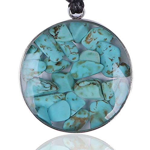 BARBARI Jewelry- Turquoise Crystals Embedded in Resin in Delicate Silver color frame. Adjustable Necklace Length 14