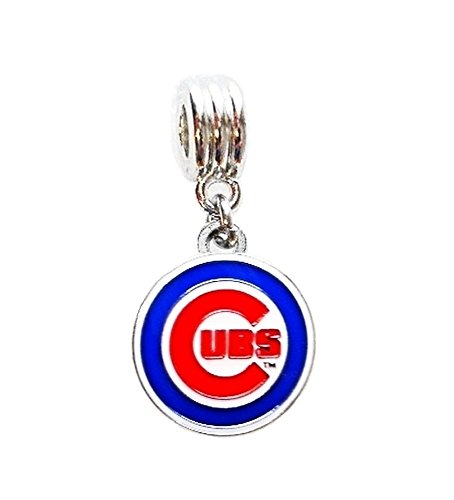 Mlb Silver Charm Bracelets (CHICAGO CUBS BASEBALL TEAM CHARM SLIDE PENDANT FOR NECKLACE EUROPEAN CHARM BRACELET (Fits Most Name Brands) DIY ETC)
