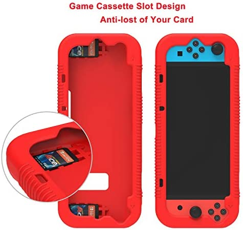 Teyomi - Carcasa de Silicona para Nintendo Switch (Incluye Protector de visualización de Vidrio Templado), Rojo 5