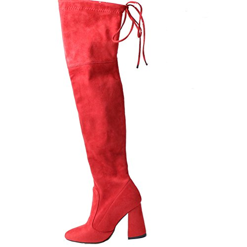 - Dormery New Sucrb Leather Women Over The Knee Boots Lace Up Sexy Hoof Heels Women Shoes Soild Winter Warm Size 34-43 Red 9