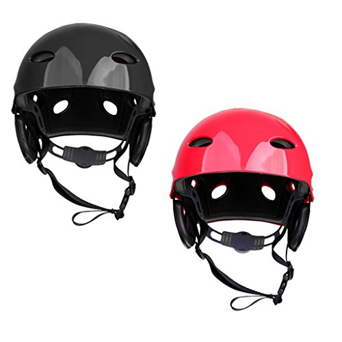 MagiDeal 2 Pieces / Set Kayak Helmet Hard Hat Canoeing Boating Drifting Kite Surfing Paddleboard Water Sports Safety Gear Equipment by MagiDeal