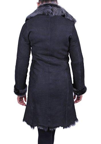 Toscana De Reel Femmes Daim Noir Cuir Mouton Manteau Brandslock En Peau wITg1AqA