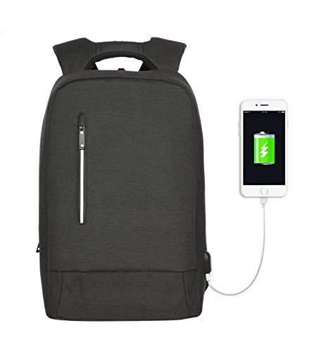 YsinoBear Laptop Business Backpack Anti theft Multipurpose Water-resistant Rucksack with USB Charging Port fits 15.6'' Notebook Computer for College/Travel (Dark Grey)