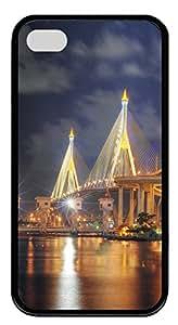 iPhone 4 4s Cases & Covers - Beautiful Bhumibol Bridge Bangkok City TPU Custom Soft Case Cover Protector for iPhone 4 4s - Black