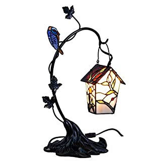 Bieye L10617 Birdhouse Hang on Branch Tiffany Style Stained Glass Accent Table Lamp, Night Light, 21 inch High
