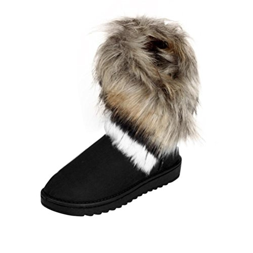 Lenfesh Fashion Women Boots Flat Ankle Fur Lined Winter Warm Snow Shoes, Fluffy Fur Warm Waterproof Windproof Shoes Black