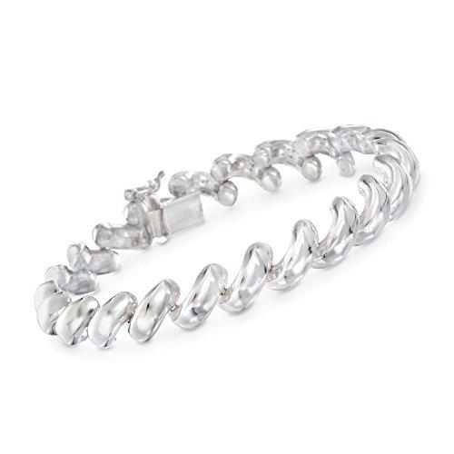 Sterling Bracelet Spiral Silver (Ross-Simons Italian Sterling Silver San Marco Link Bracelet)