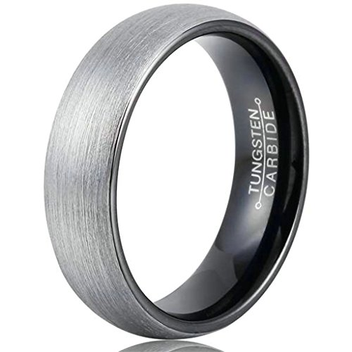 His Costumes And Her Nerd (GnZoe 6MM Tungsten Wedding Band Ring for Men Women Comfort Fit Black Enamel Domed Brushed Size)