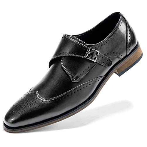 Men's Monk Strap Dress Shoes Prince Single Buckle Slip On Stylish Wingtip Dress Loafer Black 9.5 D (M) US