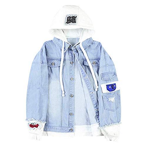 ZAFUL Unisex Casual Hooded Denim Jacket Ripped Letter Number Applique Embellished Distressed Hoodie Jacket Light Blue L
