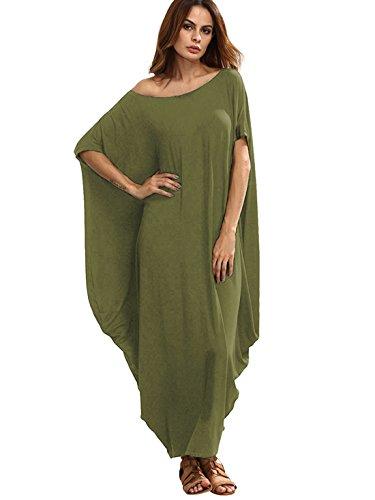 Verdusa Women's One Off Shoulder Caftan Sleeve Harem Maxi Dress Olive Green M]()