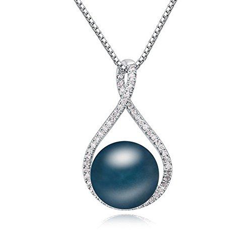 Alvdis Tear Drop Style Rhinestone Crystal Pearl Pendant Necklace, 16