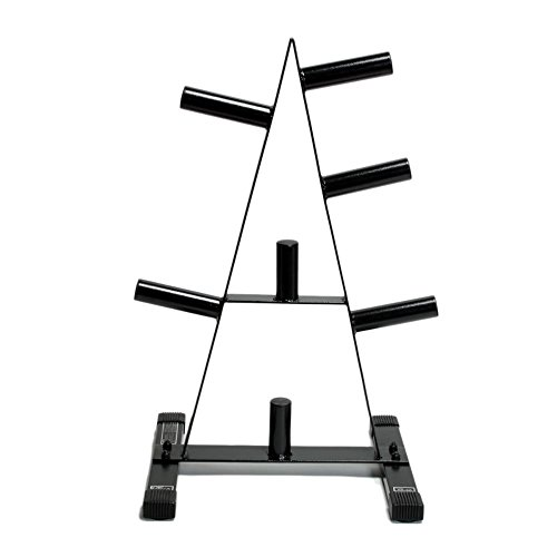 Garage gym cap barbell in plate rack