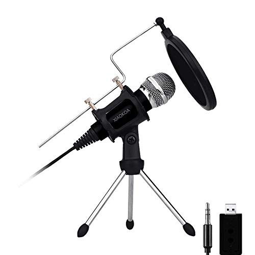 (Professional Condenser Microphone, Plug &Play Home Studio microphones for Iphone Android Recording, PC, Computer, Podcasting, Mini Desktop MIC Stand dual-layer acoustic filter (M3-New))