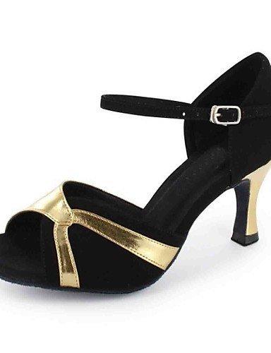 ShangYi Chaussures de danse(Autre) -Personnalisables-Talon Personnalisé-Similicuir-Latine , black and gold-us8.5 / eu39 / uk6.5 / cn40 , black and gold-us8.5 / eu39 / uk6.5 / cn40