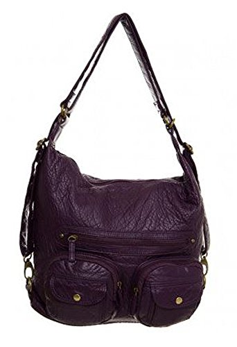 Purple Vegan in Purse Both Soft Leather and Convertible Backpack Bag Shoulder q8vYwggx