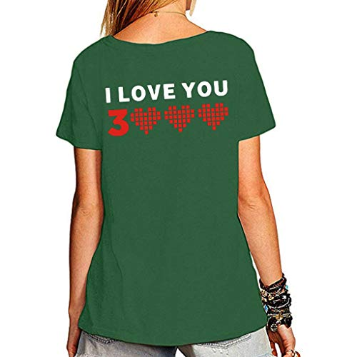 NCCIYAZ Womens Man Unisex Couple Wear T-Shirt Top I Love You 3000 Times for Marvel Iron Man Tony Stark Print Plus Size(3XL(14),Green-Women 1)]()