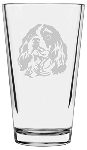 Cavalier King Charles Spaniel Etched All Purpose 16oz Libbey Pint Glass