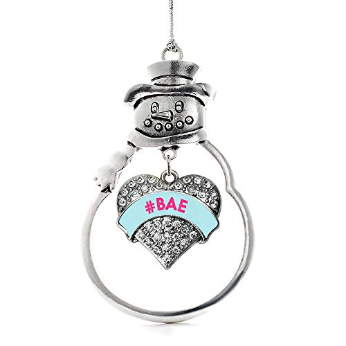 Inspired Silver - #BAE Teal Candy Charm Ornament - Silver Pave Heart Charm Snowman Ornament with Cubic Zirconia Jewelry