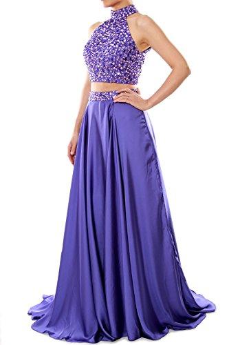 MACloth Women Two Piece Prom Dress High Neck Chiffon Long Formal ...