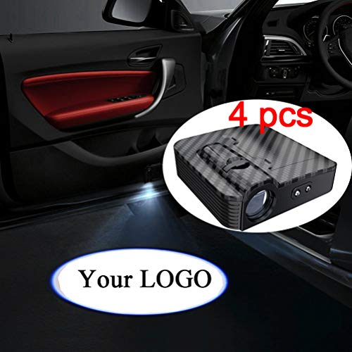 LZLRUN 4x Custom Logo Wireless Laser Projector Car Door Step Courtesy Welcome Lights Puddle Ghost Shadow LED Lights Upgraded Smart Universal Senseor Car Door Led Logo Projector Light ()