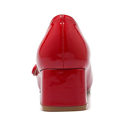 Pull Square Toe Closed Shoes Women's Red Kitten Pumps On Heels WeenFashion Solid gUwqT01