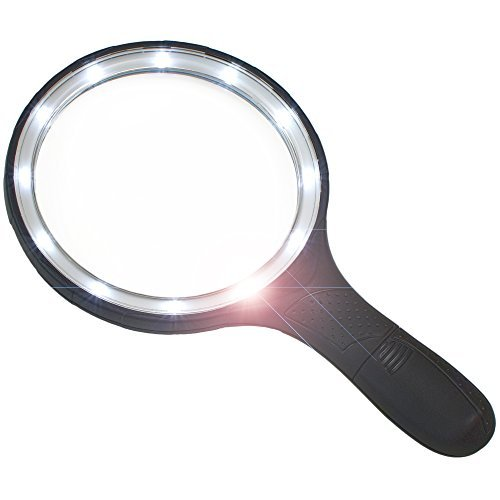 Magnifying Glass with Extra Large Lens and Bright LED Ring Light - Ideal for Reading, Inspecting, Schools, Exploring, Computers and Cell Phones