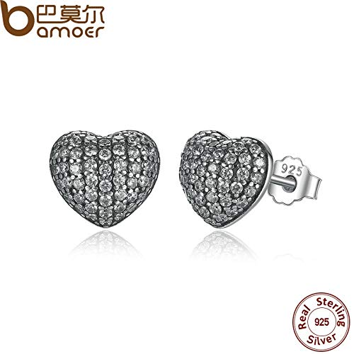 Freshwater Pave Earrings - Zirconia Brincos 925 Sterling Silver In My Heart Pave Stud Earrings, Clear CZ for Women Fine Jewelry Wedding PAS444