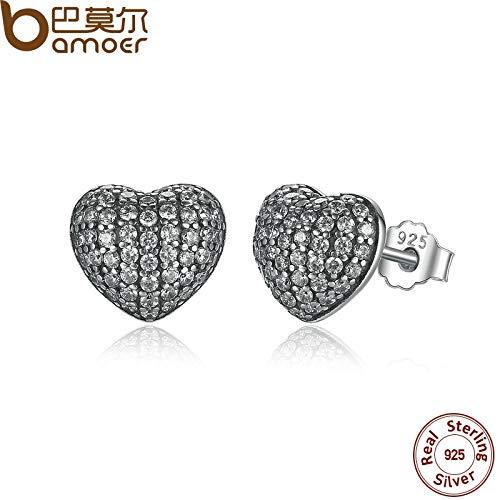 Zirconia Brincos 925 Sterling Silver In My Heart Pave Stud Earrings, Clear CZ for Women Fine Jewelry Wedding PAS444 ()