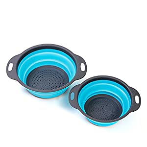 "HULLR 2 Piece Collapsible Colander Strainer Set - 8"" (2 Quart) and 9.5"" (3 Quart) Teal & Grey Finish"