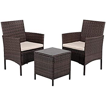 Amazon.com: Silla y mesa de ratán Transpearl para patio al ...