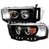 2002-2005 Dodge Ram 1500 Black Halo LED Projector Head Light 03-05 Ram 2500 3500