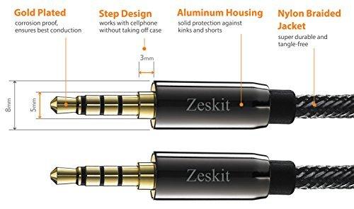 Zeskit - Premium Cable de audio estéreo, 3,5 mm Jack, Nylon Trenzado (1,2 m, Macho a Macho): Amazon.es: Electrónica