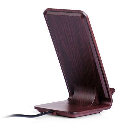 Fast Wireless Charger, Yolike A8 Red Wood Grain 2 Coils Qi Wireless Charger Charging Stand for iPhone X, iPhone 8/8 Plus, Fast Charging for Samsung S9 S9+ Note8 S8 S8+ S7 S7 Edge S6 Edge+ Note5 by YOLIKE (Image #1)