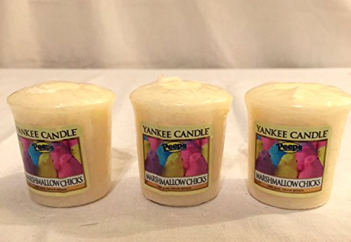 Lot of 3 Yankee Candle Peeps® Marshmallow Chicks Sampler® Votive Candles 1.75 oz ()