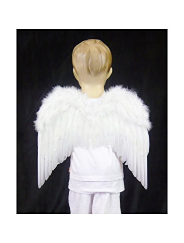 FashionWings (TM) Children's Toddler Size White Feather Angel Wings & Headband Halo (Cupid Baby Costume)