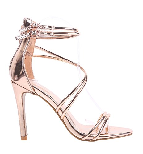 Strappy Zipper (Sweet eCom Women High Heels Sandals Stiletto Heels Strappy Zipper Closure Buckle Adjustment Faux Patent Leather (6.5, Rose Gold))