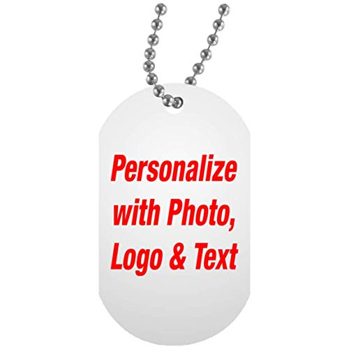 Personalized Dog Tag - Add Your Photo Text Logo Design - Military Inspired ID Pendant Necklace Chain - Custom-ized Gift for Friend Mom Dad Kid Son Daughter Mother