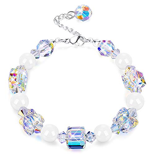 "KesaPlan Swarovski Crystals Bracelets, Swarovski White Bead Square Round Butterfly Shaped Aurora Crystals Bracelets for Women Girls Stretch Bracelets, Jewelry Gift for Christmas Day, 7""+2"" from KesaPlan"