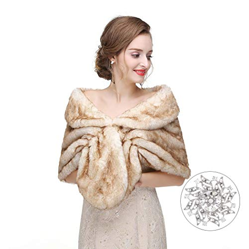 CanB Women's 1920s Faux Fur Shawl Bridal Wedding Fur Wraps and Bolero Shrug Faux Mink Stole for Women and Girls (Light Brown)