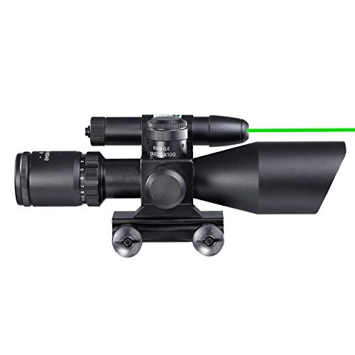 Freehawk® 2.5-10x40 Tactical Rifle Scope/Gun scope/Gun sights Green Laser Dual illuminated Mil-dot w/ Rail Mount-Shockproof, Waterproof, Fogproof (Millet Tactical Rings)