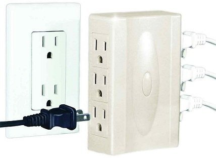 Conversion Outlet - Multi-plug Outlet - Adapter - Set of 2-2-outlet to 6-outlet Conversion - Three Prong